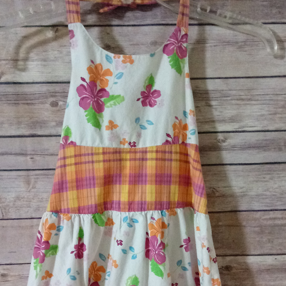 CHAPS Other - CHAPS 4T HALTER DRESS SUNDRESS BOW FLOWERS STRIPES